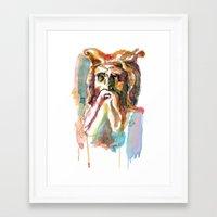 Watercolor Old Man Framed Art Print