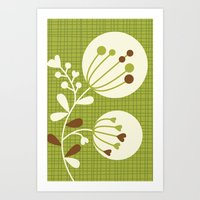 Retro Lime Bouquet Art Print