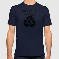 Recycle Black Mens Fitted Tee Navy SMALL