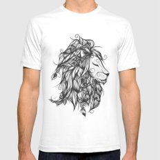 Poetic Lion B&W SMALL Mens Fitted Tee White
