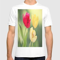 Red & Yellow Tulips Mens Fitted Tee White SMALL