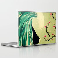 japanese Laptop & iPad Skins featuring falling in love by Yetiland