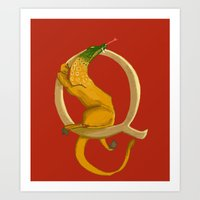 Q is for Quest Beast Animal Alphabets Art Print