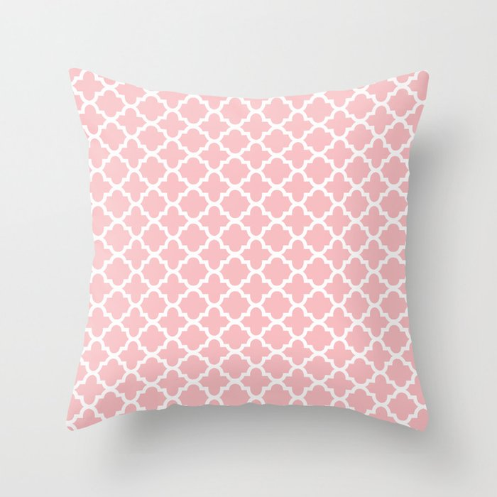 Blush Pink Decorative Pillow : Blush Pink Quatrefoil Throw Pillow by Fancy Designs Society6