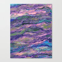 MARBLE IDEA! LAVENDER PINK PEACH Abstract Watercolor Painting Colorful Geological Nature Marbled Art Canvas Print
