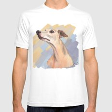 Whippet face SMALL White Mens Fitted Tee