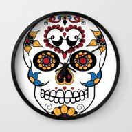 Wall Clock featuring Mexican Sugar Skull by Gwladys R.