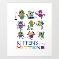 Kittens with Mittens Art Print
