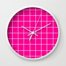Grid (White/Magenta) Wall Clock
