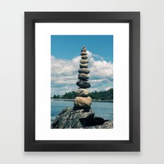 Leaning Tower of Pebbles Framed Art Print