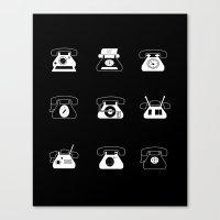 Fifties' Smartphones Black Canvas Print