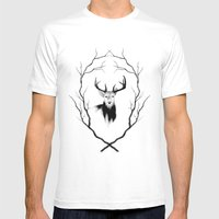 DEER REVISITED Mens Fitted Tee White SMALL