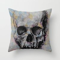 Medieval Skull Throw Pillow