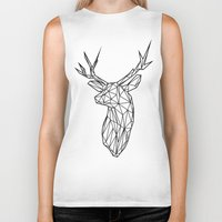 Black Line Faceted Stag Trophy Head Biker Tank