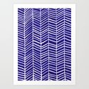 Herringbone – Navy & White Art Print