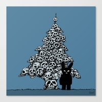 The Black Bunny of Doom and his Skull Christmas tree Canvas Print