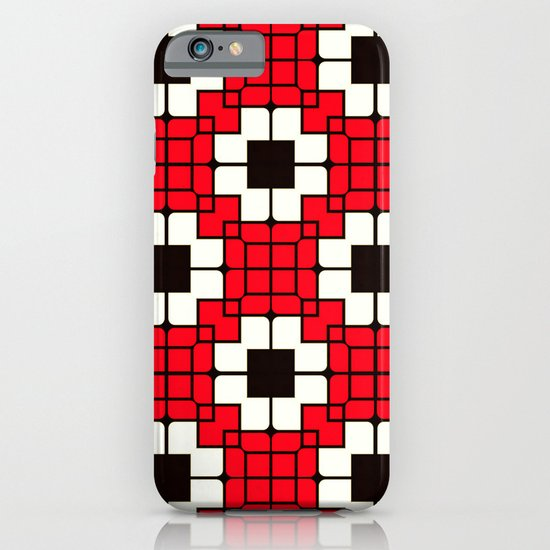 Retro Mosaic Red & Black iPhone & iPod Case