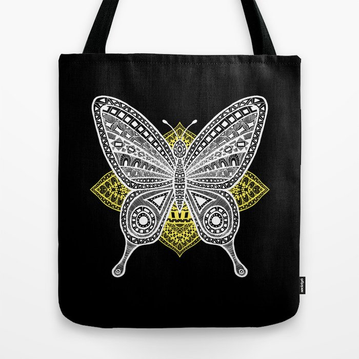 The Butterfly Watercolor Illustration on Tote Bag by Haidi Shabrina