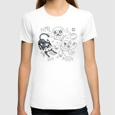 PKMN SUN + MOON Womens Fitted Tee White SMALL