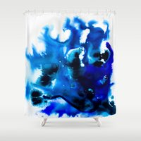 Paint 8 abstract indigo watercolor painting minimal modern canvas art affordable home decor trendy Shower Curtain