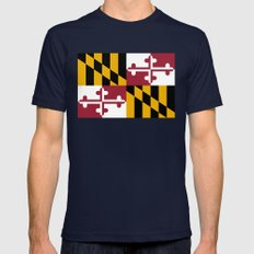 Flag of Maryland - Authentic High Quality image Mens Fitted Tee Navy SMALL