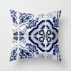 blue tile pattern VII - Azulejos, Portuguese tiles Throw Pillow