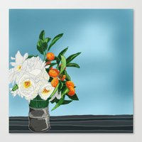 White Roses & Tangerines Canvas Print