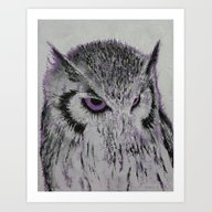 Violet Owl Art Print