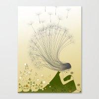 the girl with dandelion hair Canvas Print