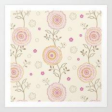 Folky Flowers Art Print