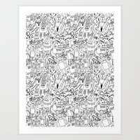 Infinity Robots Black & … Art Print