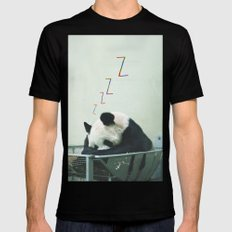 Sleepy Panda SMALL Black Mens Fitted Tee