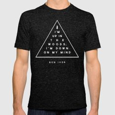 Woods -- Bon Iver Mens Fitted Tee Tri-Black SMALL
