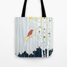 bird in birch Tote Bag