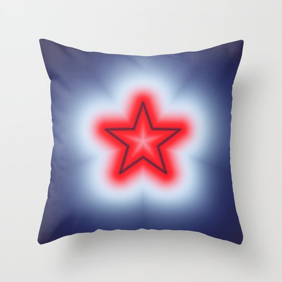 Red White and Blue Star Throw Pillow by Charma Rose Society6