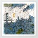 San Francisco skyline old map Art Print