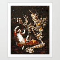 Robot And Cat In The Wil… Art Print
