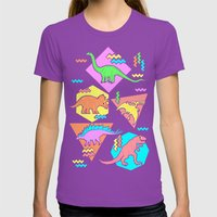 Nineties Dinosaur Pattern Womens Fitted Tee Ultraviolet SMALL