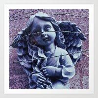 Captured blue angel Art Print
