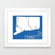 Connecticut State Map Framed Art Print