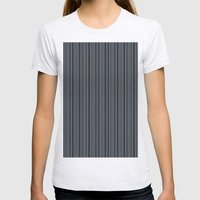 Steel Blue Double Stripes Womens Fitted Tee Ash Grey SMALL