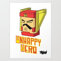 Unhappy Hero Art Print