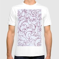 Fox Pattern Screen Print Mens Fitted Tee White SMALL
