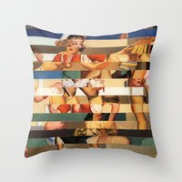Glitch Pin-Up Redux: Olivia Throw Pillow