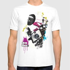 :: LOMO JUNKIE White SMALL Mens Fitted Tee