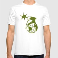 Earth Grenade Mens Fitted Tee White SMALL