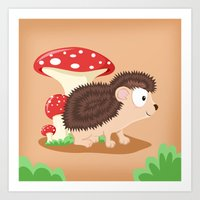 Woodland Animals Serie I. Hedgehog Art Print