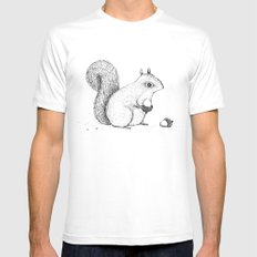 Monochrome Squirrel SMALL White Mens Fitted Tee