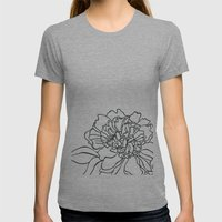 Paper-cut Peony Womens Fitted Tee Athletic Grey SMALL