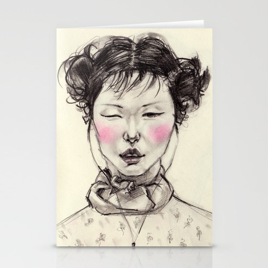 Chinese Girl Stationery Card